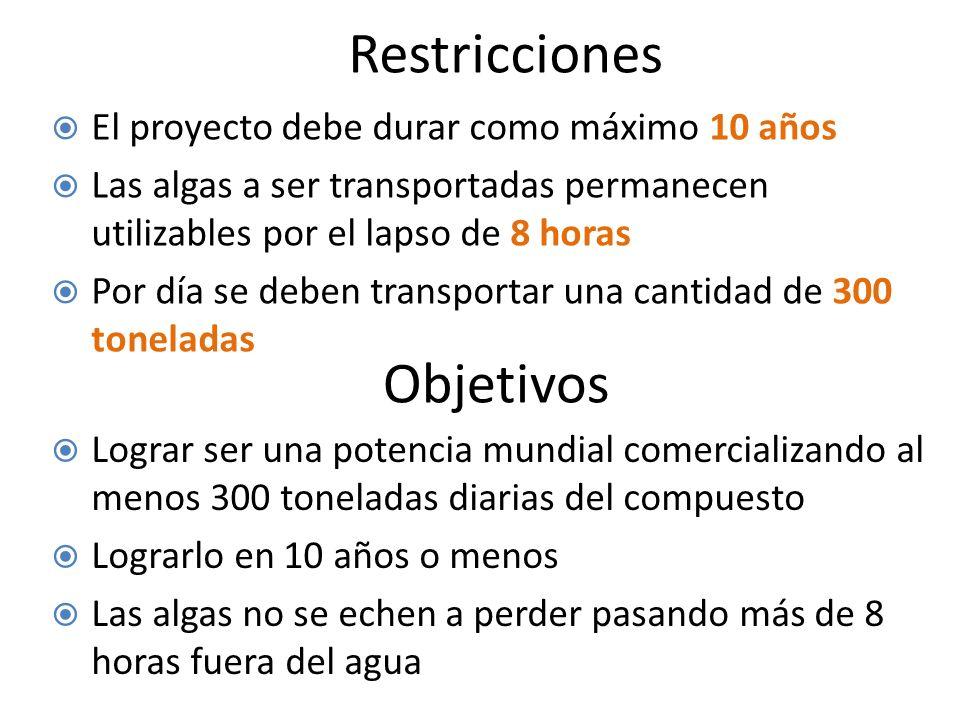 Restricciones Objetivos El proyecto debe durar como máximo 10 años