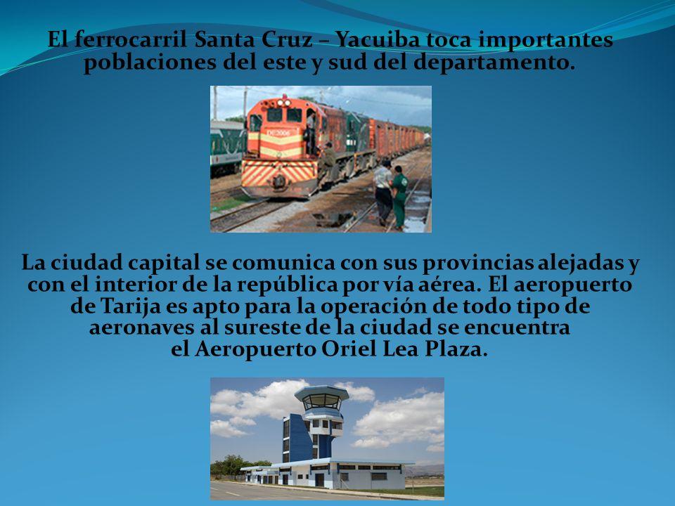 El ferrocarril Santa Cruz – Yacuiba toca importantes poblaciones del este y sud del departamento.
