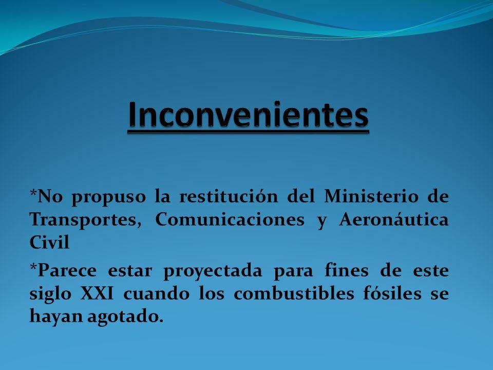 Inconvenientes *No propuso la restitución del Ministerio de Transportes, Comunicaciones y Aeronáutica Civil.