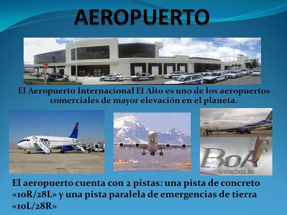 AEROPUERTO El Aeropuerto Internacional El Alto es uno de los aeropuertos comerciales de mayor elevación en el planeta.