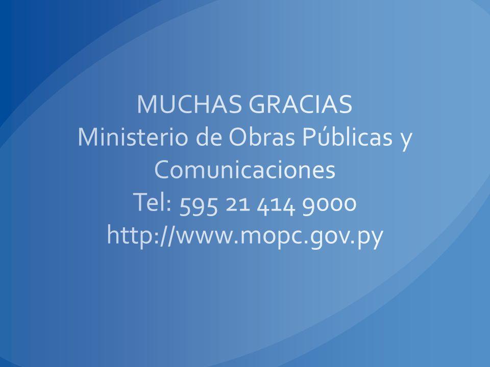 MUCHAS GRACIAS Ministerio de Obras Públicas y Comunicaciones Tel: 595 21 414 9000 http://www.mopc.gov.py