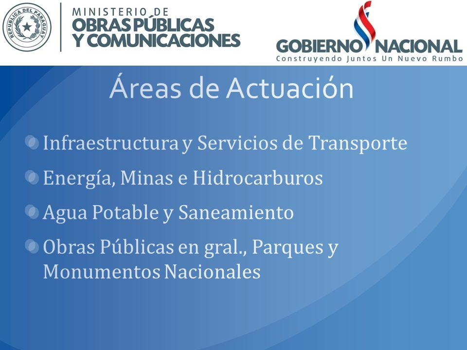 Áreas de Actuación Infraestructura y Servicios de Transporte
