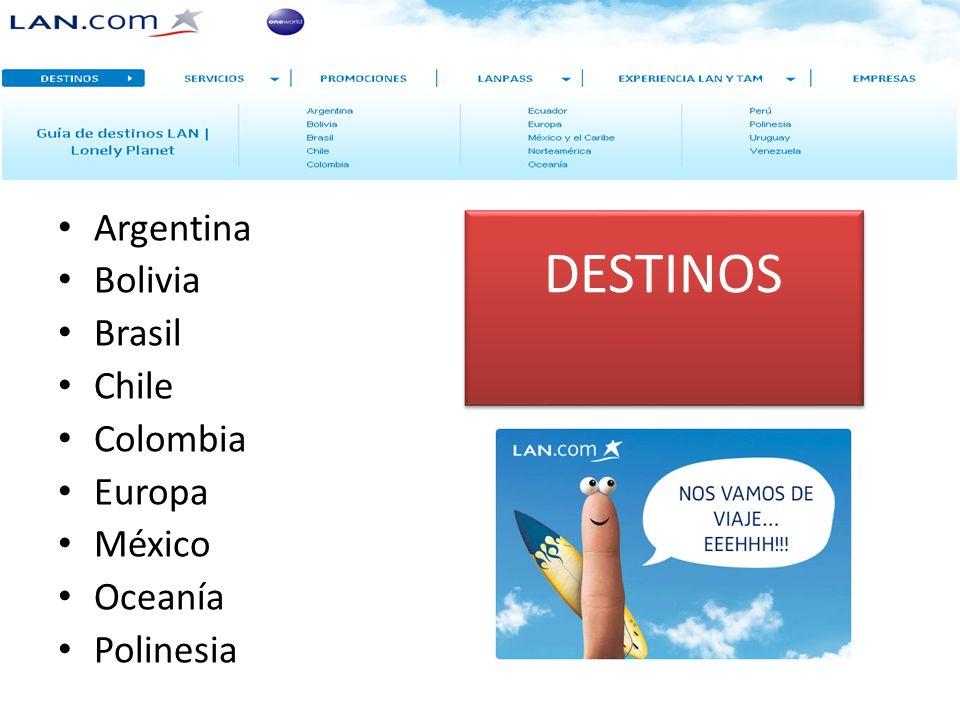 DESTINOS Argentina Bolivia Brasil Chile Colombia Europa México Oceanía