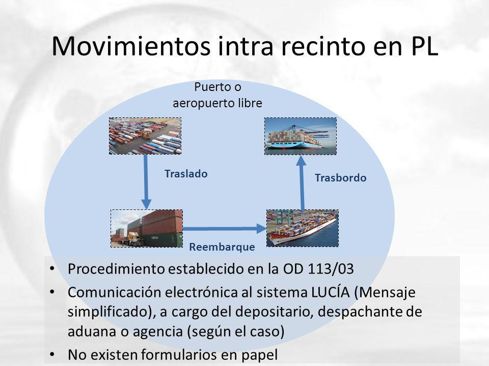 Movimientos intra recinto en PL