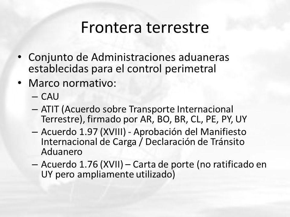 Frontera terrestre Conjunto de Administraciones aduaneras establecidas para el control perimetral. Marco normativo: