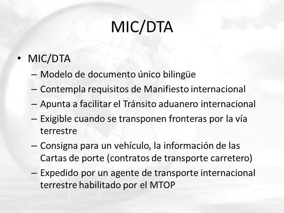 MIC/DTA MIC/DTA Modelo de documento único bilingüe