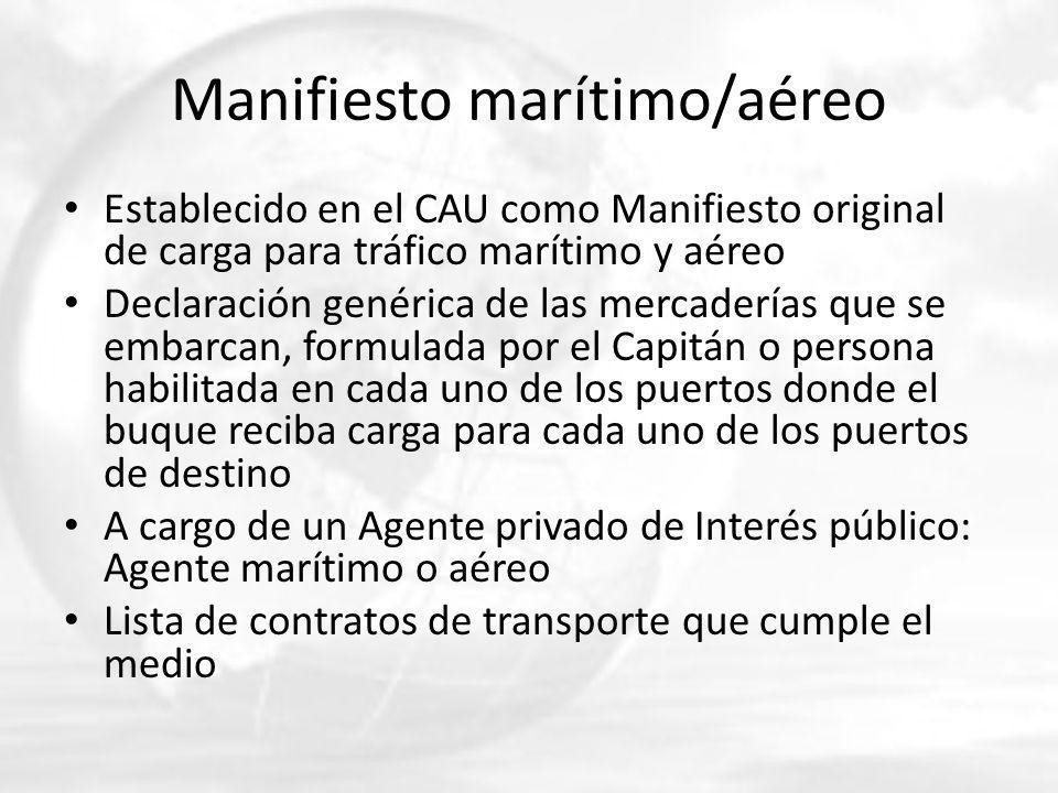 Manifiesto marítimo/aéreo