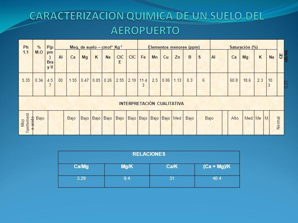 CARACTERIZACION QUIMICA DE UN SUELO DEL AEROPUERTO