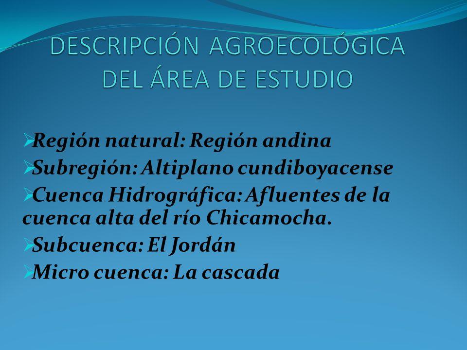 DESCRIPCIÓN AGROECOLÓGICA DEL ÁREA DE ESTUDIO