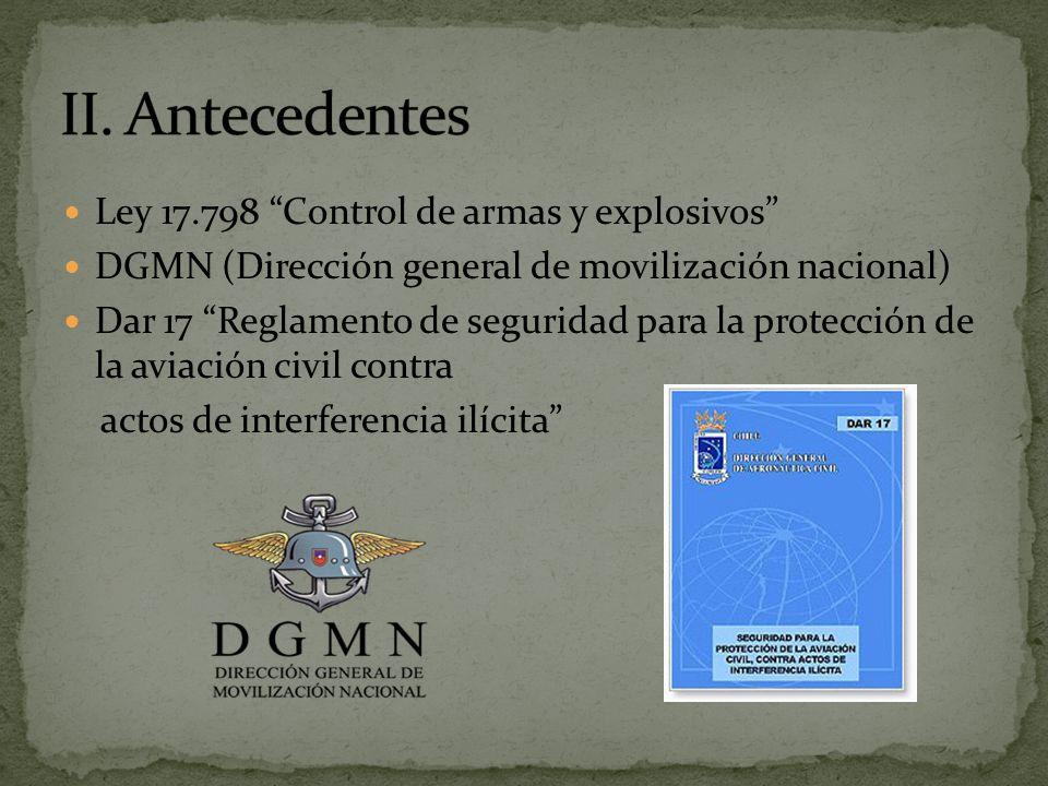 II. Antecedentes Ley 17.798 Control de armas y explosivos