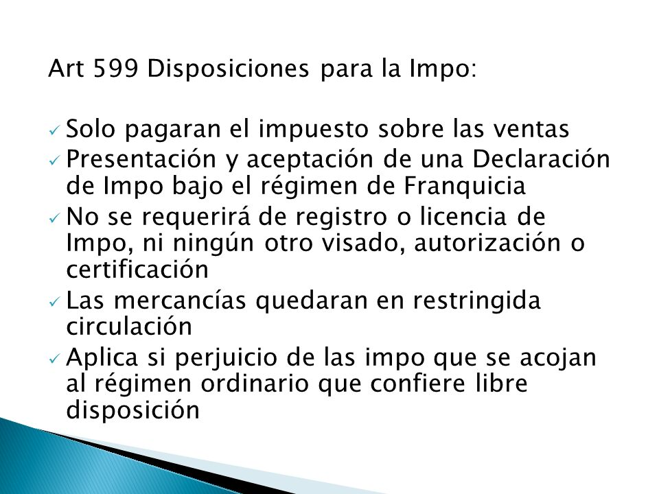 Art 599 Disposiciones para la Impo: