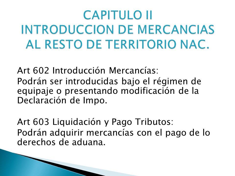 CAPITULO II INTRODUCCION DE MERCANCIAS AL RESTO DE TERRITORIO NAC.