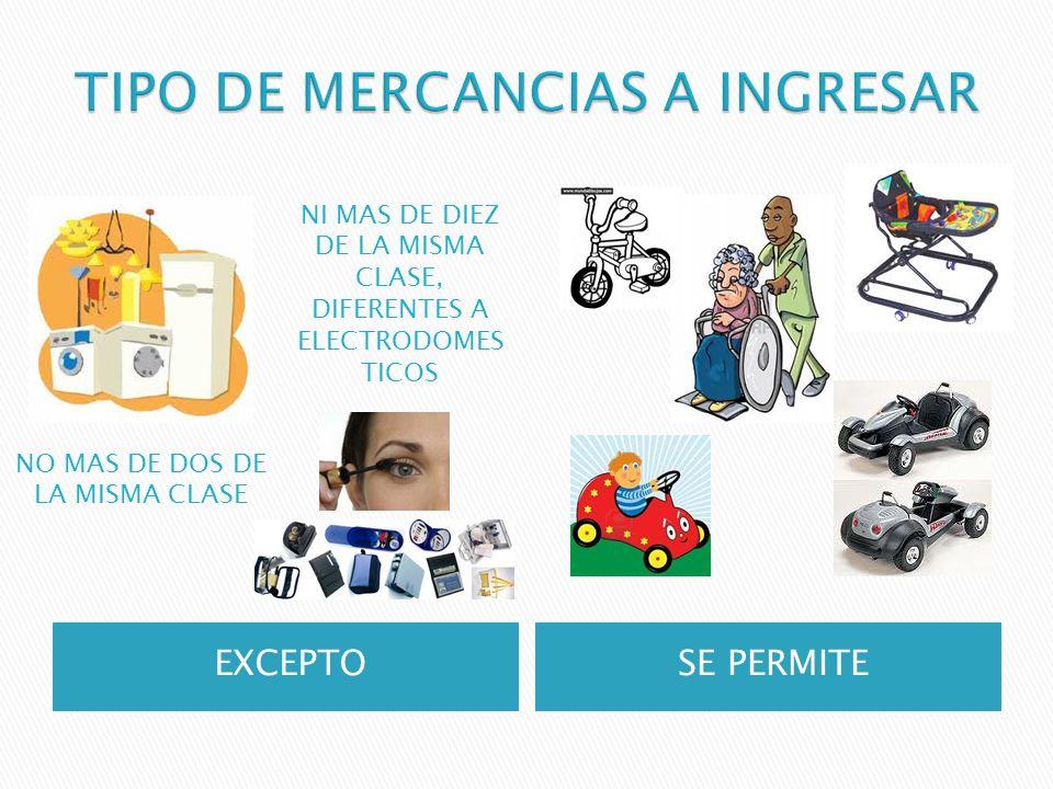 TIPO DE MERCANCIAS A INGRESAR