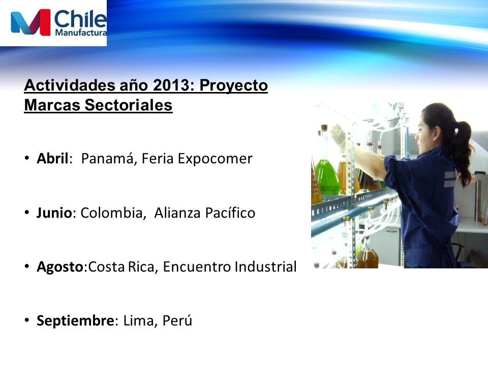 Actividades año 2013: Proyecto Marcas Sectoriales