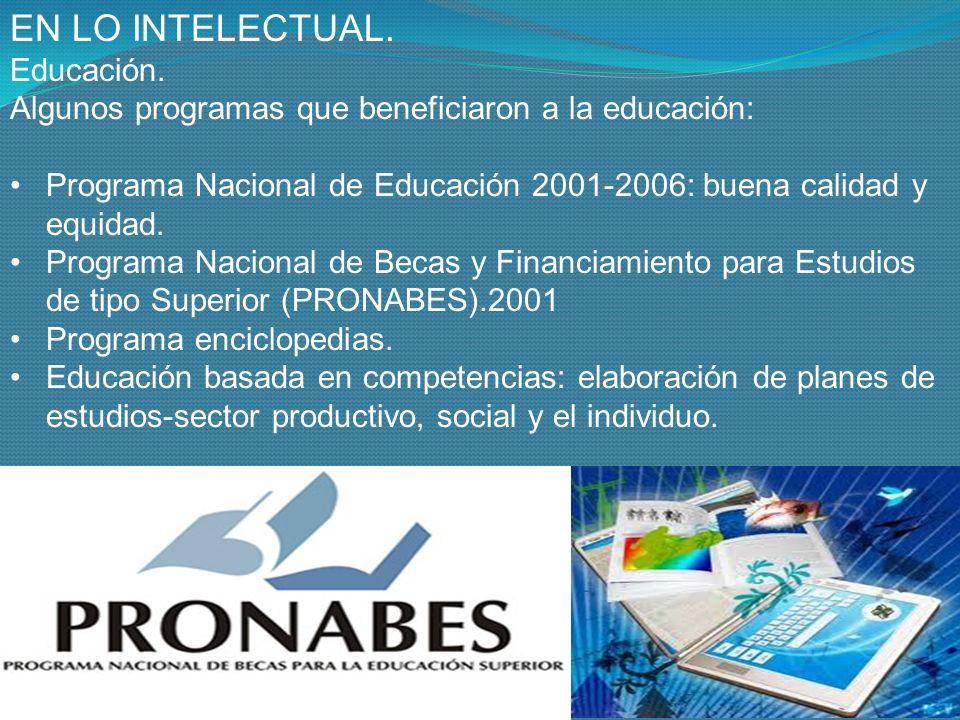EN LO INTELECTUAL. Educación.