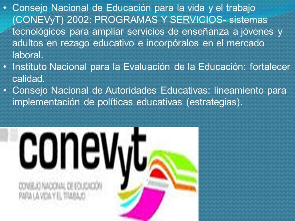 Consejo Nacional de Educación para la vida y el trabajo (CONEVyT) 2002: PROGRAMAS Y SERVICIOS- sistemas tecnológicos para ampliar servicios de enseñanza a jóvenes y adultos en rezago educativo e incorpóralos en el mercado laboral.