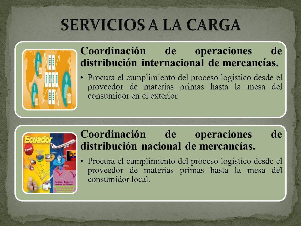 SERVICIOS A LA CARGA Coordinación de operaciones de distribución internacional de mercancías.