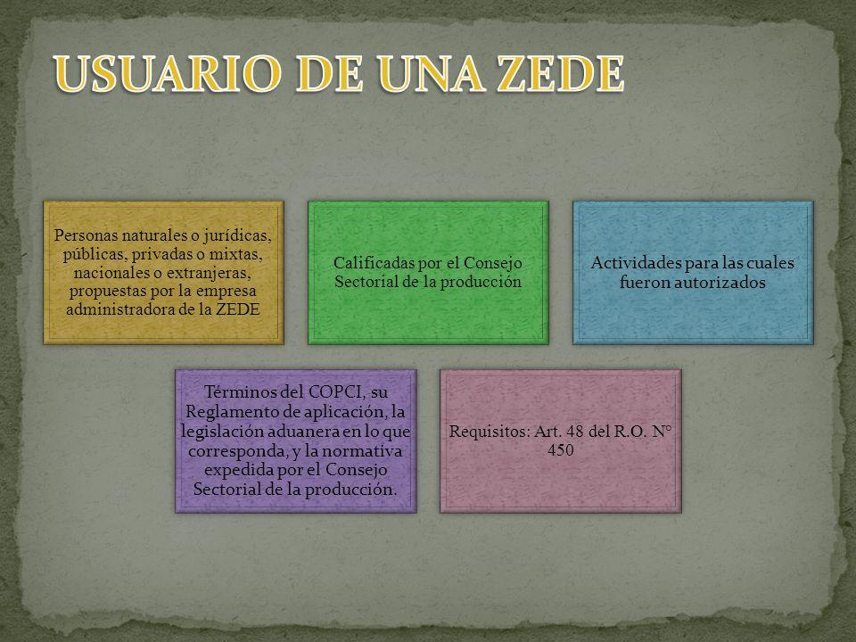 USUARIO DE UNA ZEDE