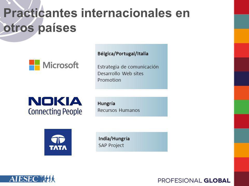 Practicantes internacionales en otros países
