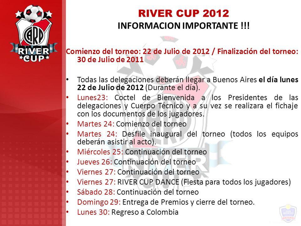 RIVER CUP 2012 INFORMACION IMPORTANTE !!!