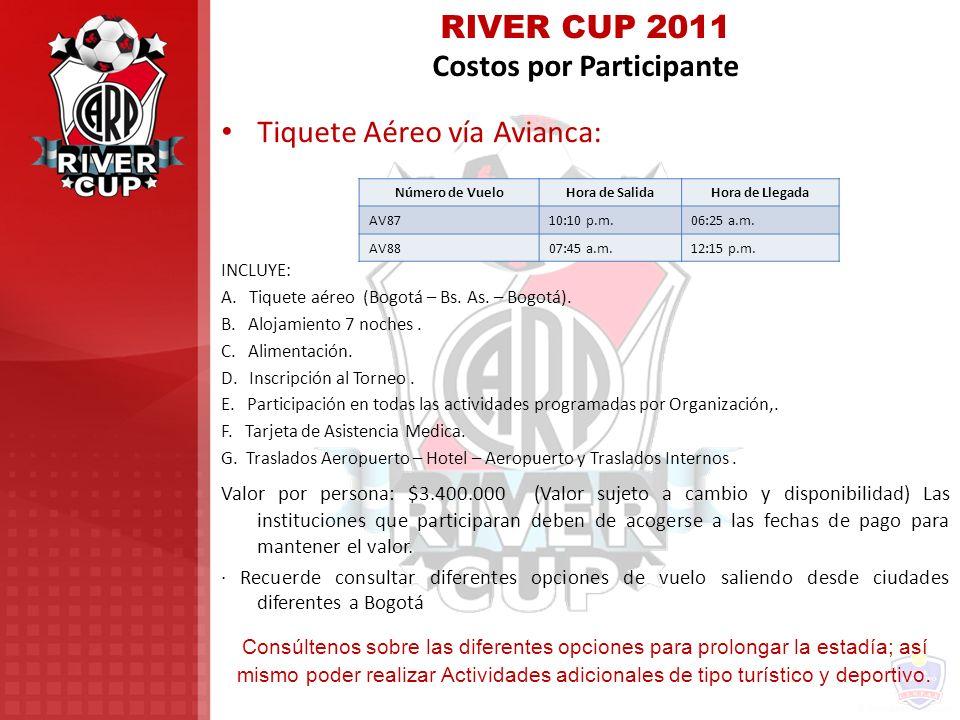 RIVER CUP 2011 Costos por Participante
