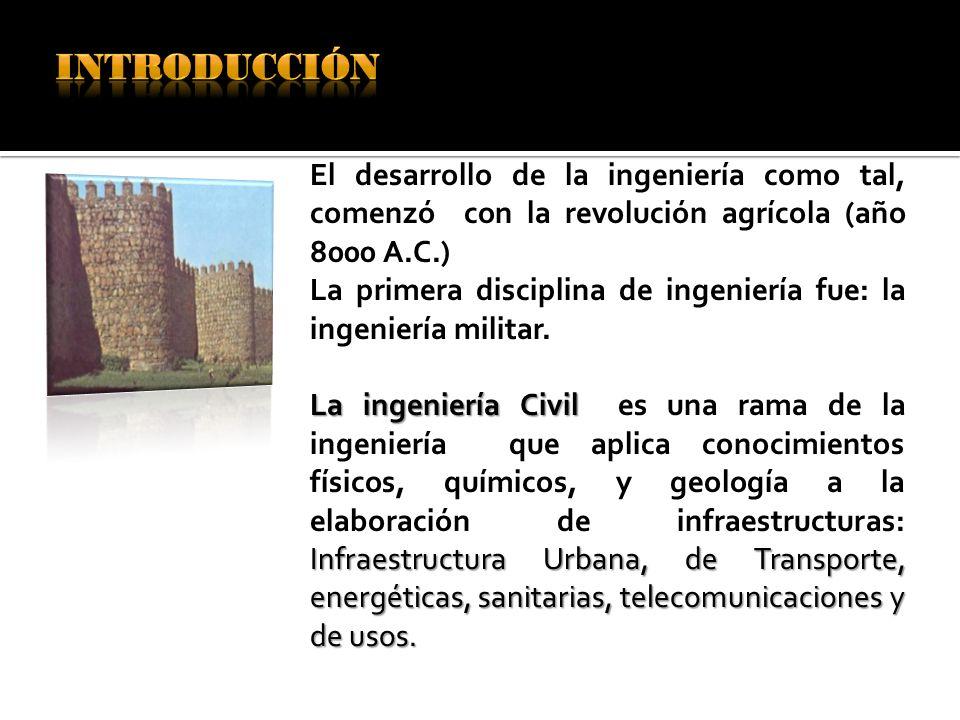 INTRODUCCIÓN El desarrollo de la ingeniería como tal, comenzó con la revolución agrícola (año 8000 A.C.)