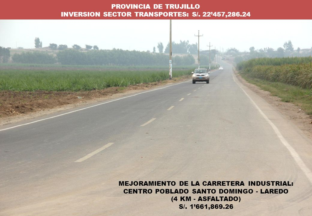 INVERSION SECTOR TRANSPORTES: S/. 22'457,286.24