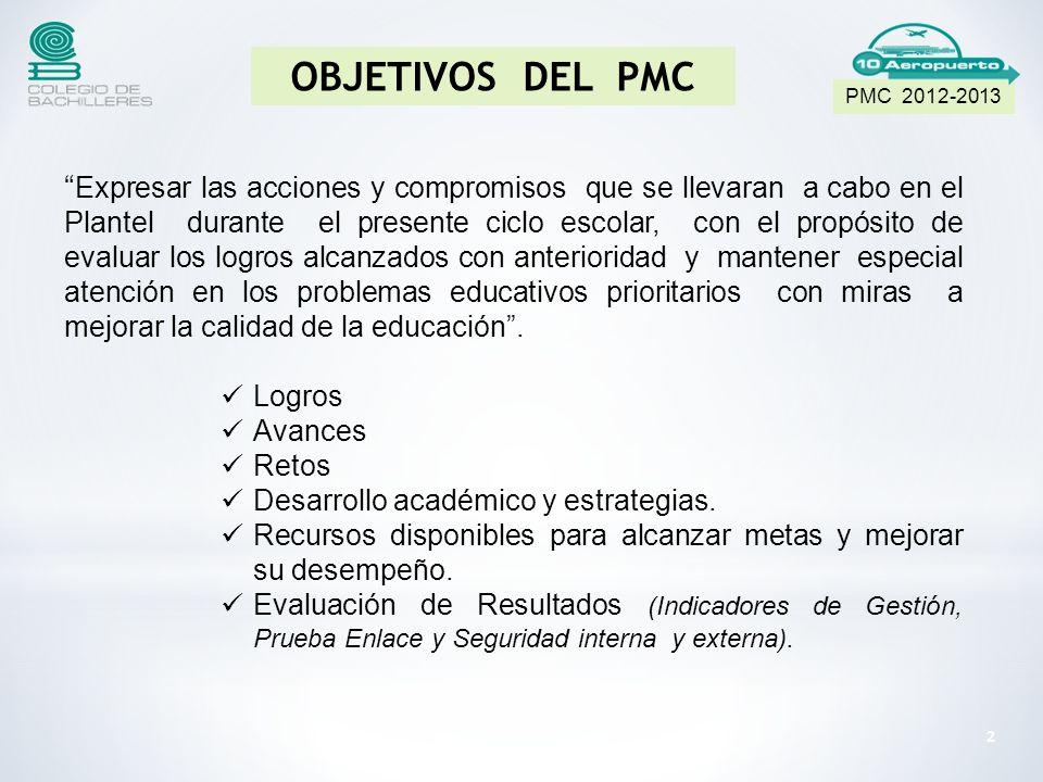 PMC 2012-2013 OBJETIVOS DEL PMC.