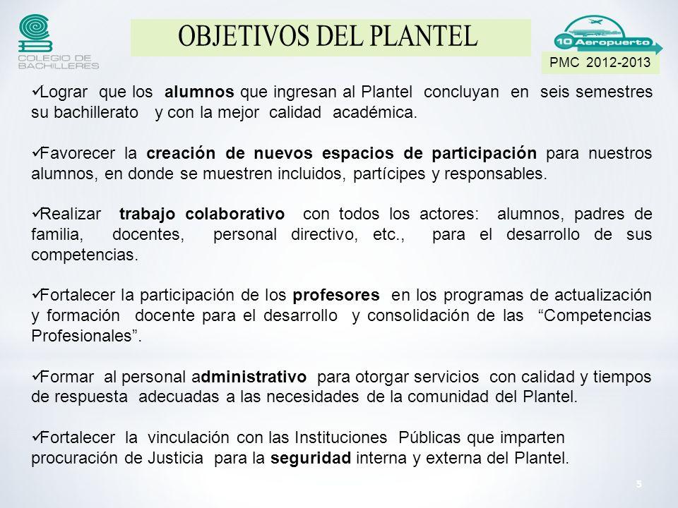 PMC 2012-2013 OBJETIVOS DEL PLANTEL.