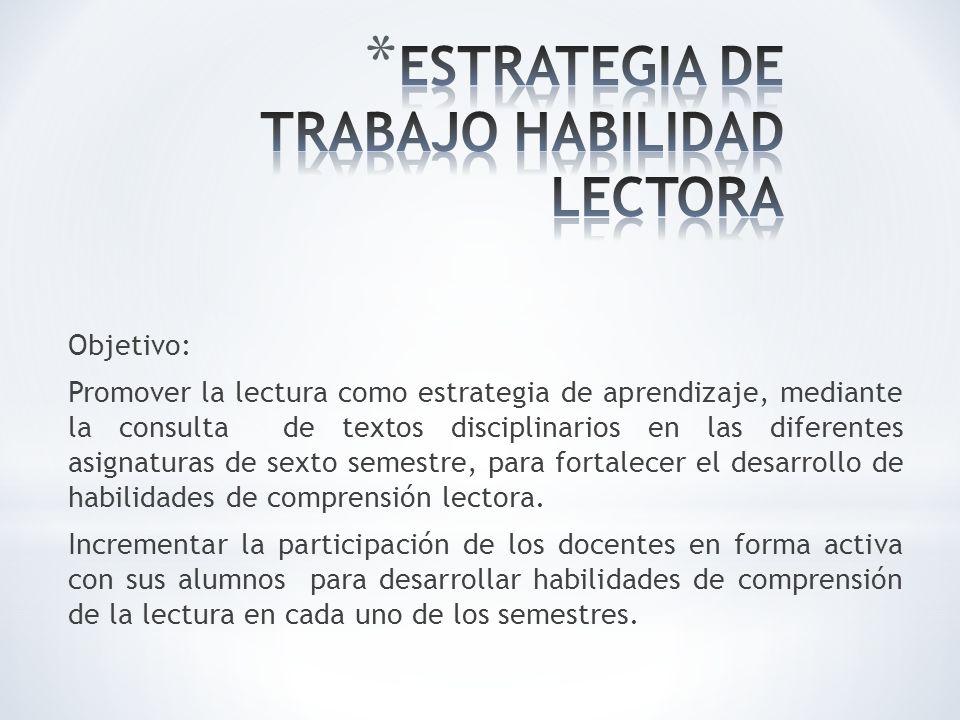 ESTRATEGIA DE TRABAJO HABILIDAD LECTORA