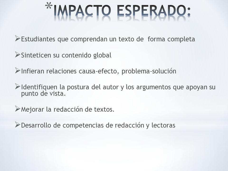 IMPACTO ESPERADO: Estudiantes que comprendan un texto de forma completa. Sinteticen su contenido global.