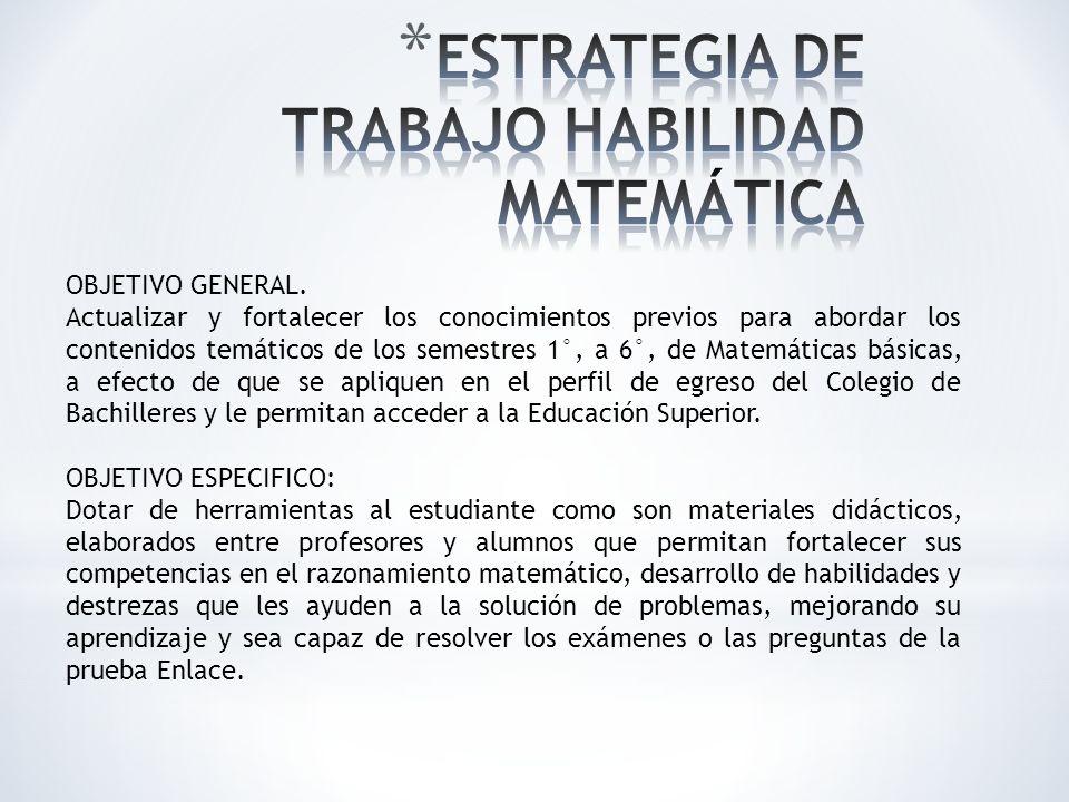 ESTRATEGIA DE TRABAJO HABILIDAD MATEMÁTICA