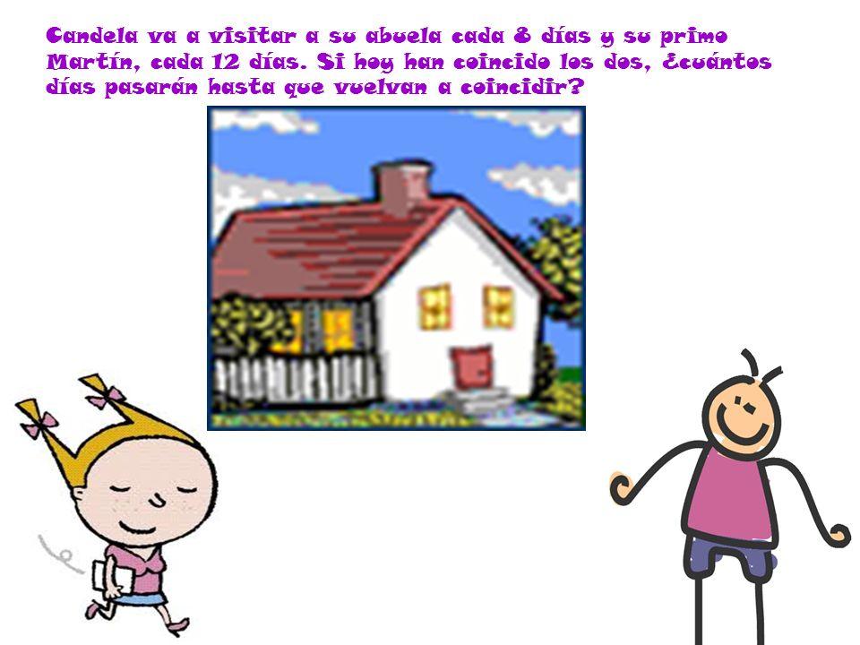 Candela va a visitar a su abuela cada 8 días y su primo Martín, cada 12 días.