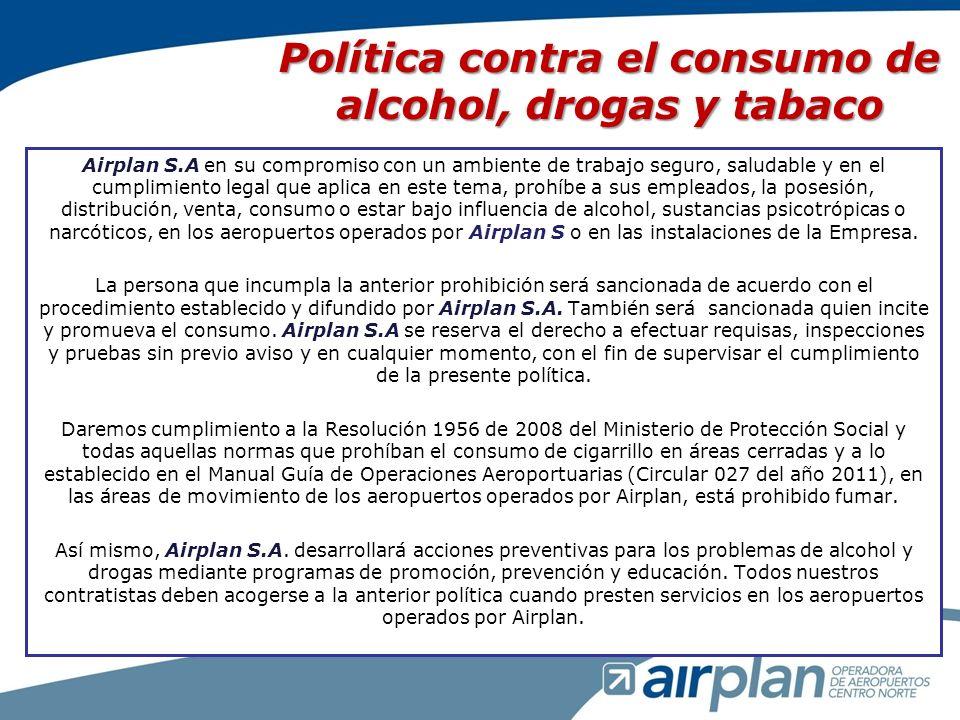 Política contra el consumo de alcohol, drogas y tabaco