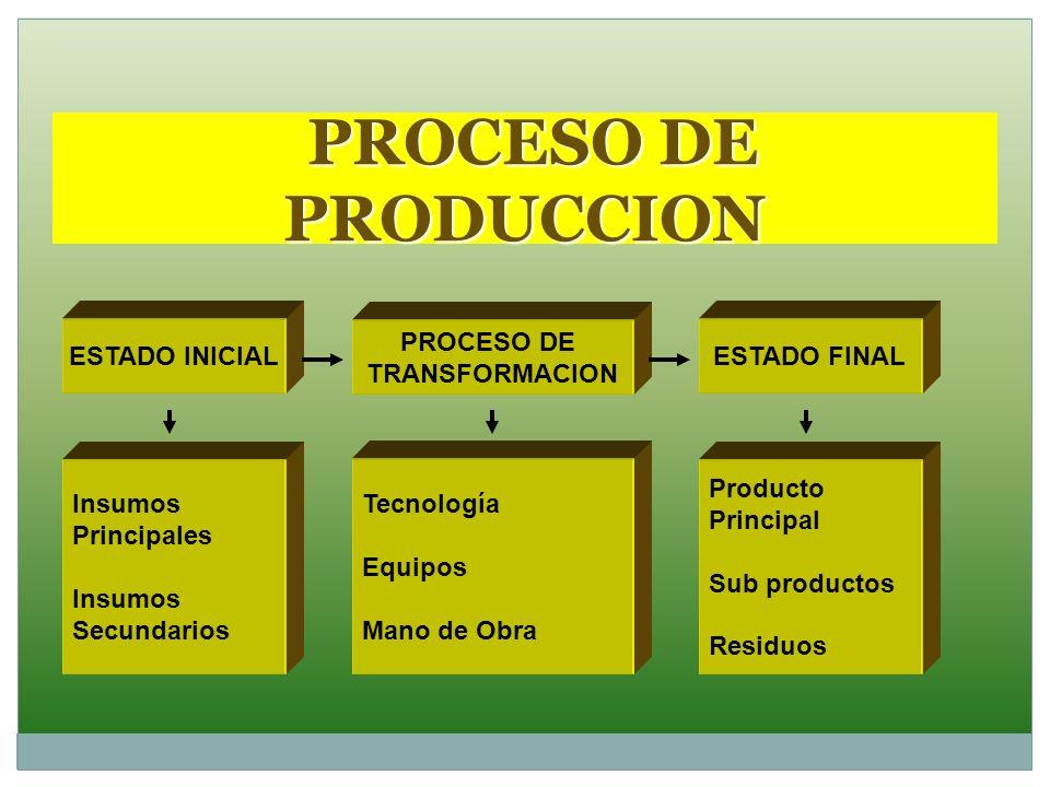 PROCESO DE PRODUCCION ESTADO INICIAL PROCESO DE TRANSFORMACION