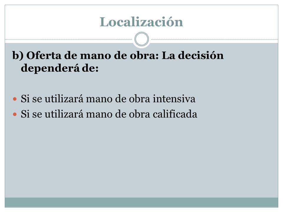 Localización b) Oferta de mano de obra: La decisión dependerá de: