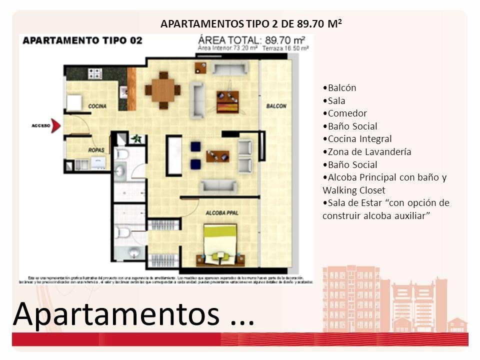 Apartamentos ... APARTAMENTOS TIPO 2 DE 89.70 M2 Balcón Sala Comedor