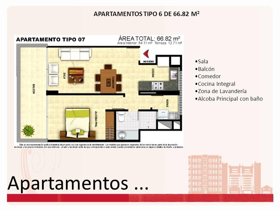 Apartamentos ... APARTAMENTOS TIPO 6 DE 66.82 M2 Sala Balcón Comedor