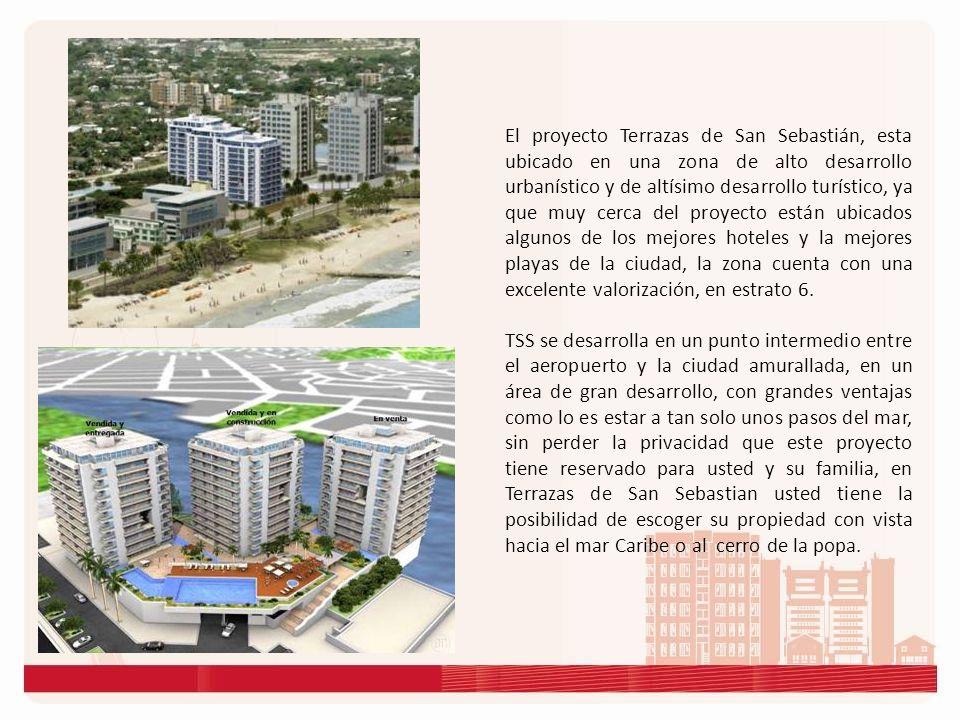 El proyecto Terrazas de San Sebastián, esta ubicado en una zona de alto desarrollo urbanístico y de altísimo desarrollo turístico, ya que muy cerca del proyecto están ubicados algunos de los mejores hoteles y la mejores playas de la ciudad, la zona cuenta con una excelente valorización, en estrato 6.