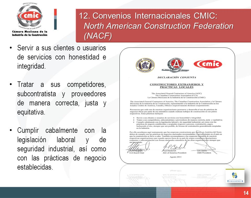 12. Convenios Internacionales CMIC: North American Construction Federation (NACF)