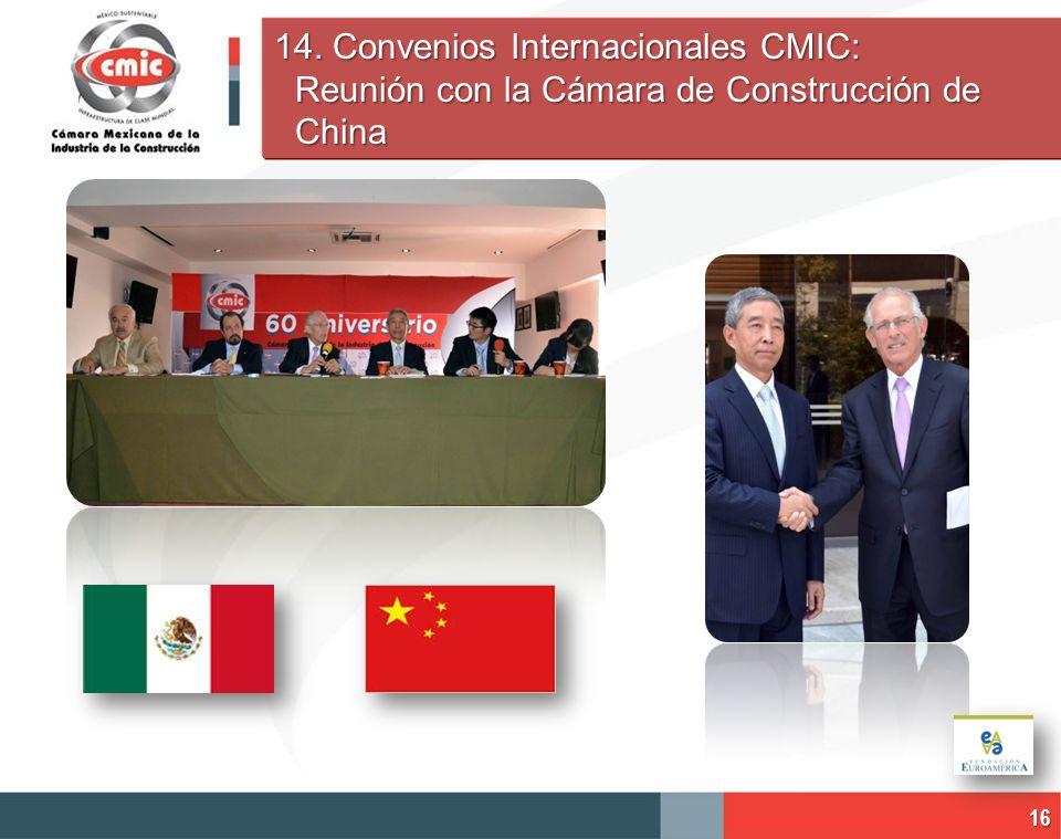 14. Convenios Internacionales CMIC: Reunión con la Cámara de Construcción de China