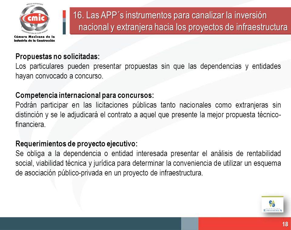 16. Las APP´s instrumentos para canalizar la inversión nacional y extranjera hacia los proyectos de infraestructura