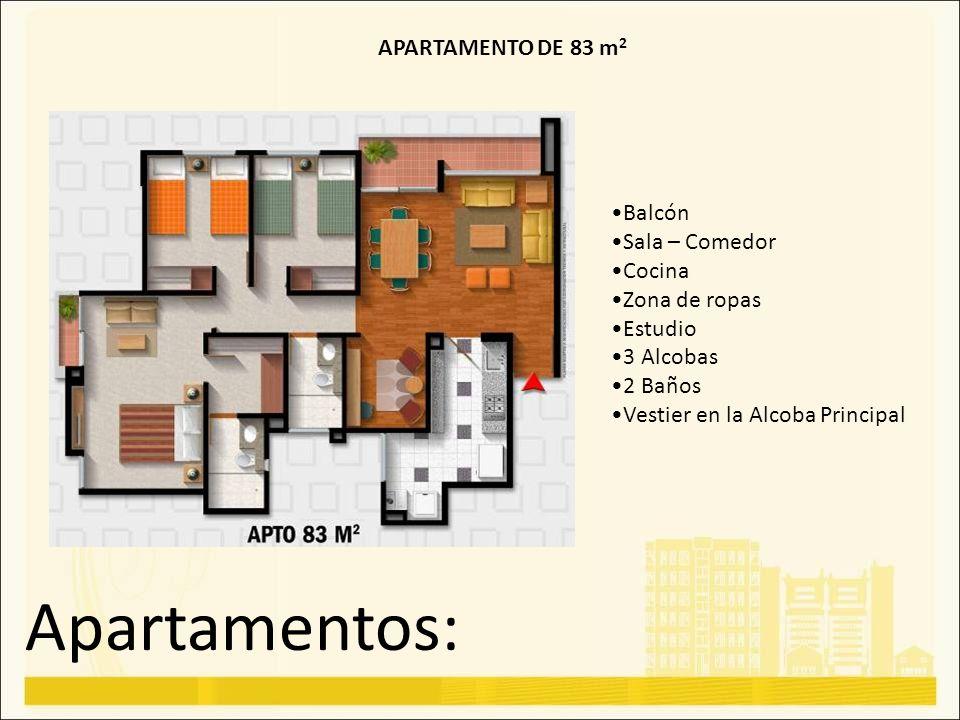 Apartamentos: APARTAMENTO DE 83 m2 Balcón Sala – Comedor Cocina