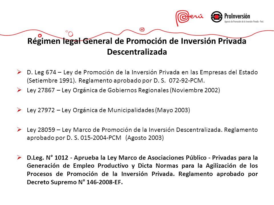 Régimen legal General de Promoción de Inversión Privada Descentralizada
