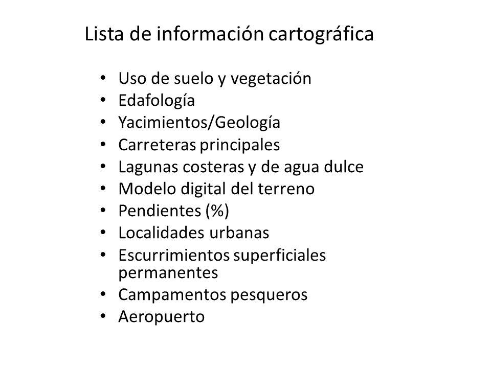 Lista de información cartográfica