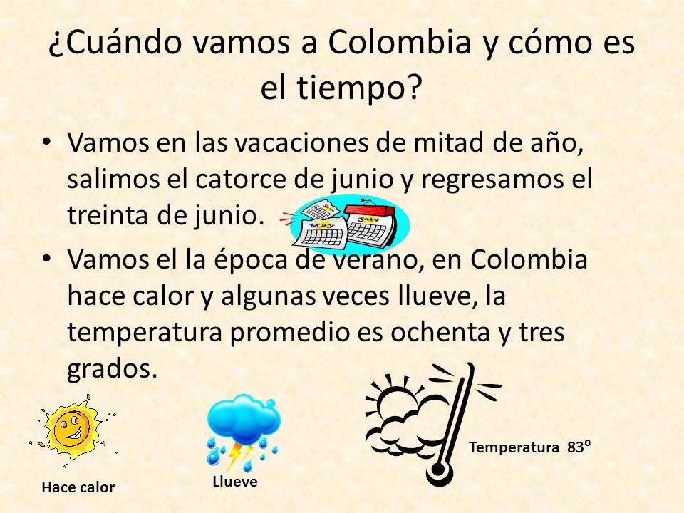 ¿Cuándo vamos a Colombia y cómo es el tiempo