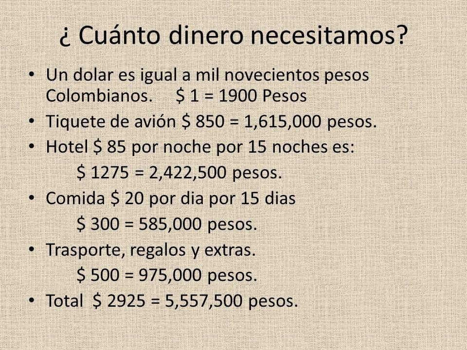 ¿ Cuánto dinero necesitamos