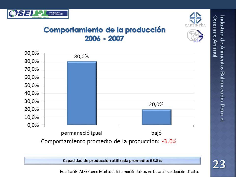 Comportamiento de la producción 2006 - 2007