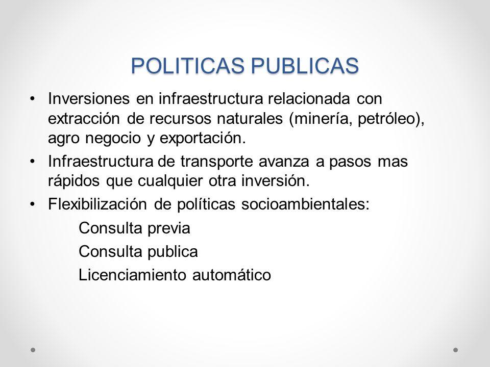 POLITICAS PUBLICAS Inversiones en infraestructura relacionada con extracción de recursos naturales (minería, petróleo), agro negocio y exportación.