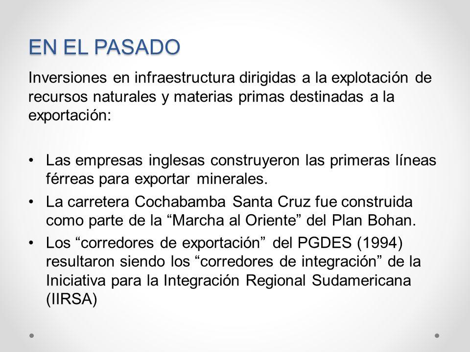 EN EL PASADO Inversiones en infraestructura dirigidas a la explotación de recursos naturales y materias primas destinadas a la exportación:
